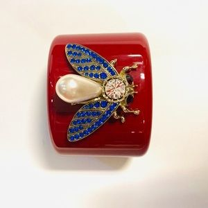 Thot Gioielli-Red cuff with bee, pearl & crystals